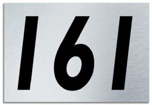 Number 161 Contemporary House  Plaque | Brusher Aluminium modern door sign